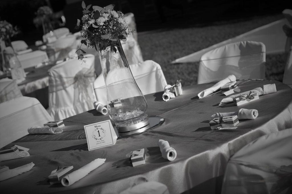 Decoración mesa de boda Hotel San Antonio